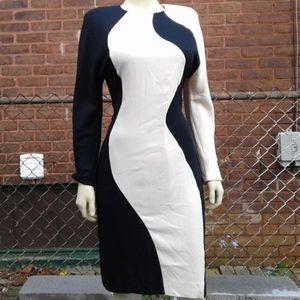 Black and White Mod Color Block Illusion Dress